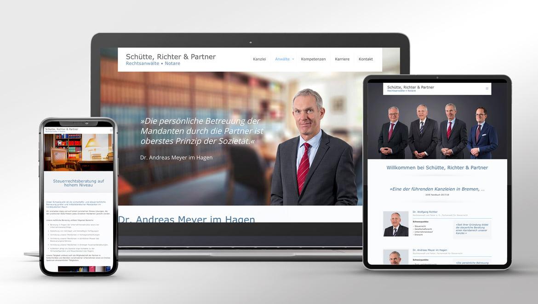 Website der Kanzlei Schütte, Richter & Partner